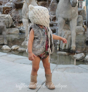 Pre-Order US ONLY - Baby Girl Boho Faux Fur Fall Vests -The Faux Fur Vest - Baby Vest - Kids Vest - shower gift - birthday present-Baby Clothing -modern faux fur -shrug - vest - Ruffles & Bowties Bowtique - 5