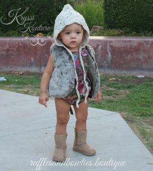 Pre-Order US ONLY - Baby Girl Boho Faux Fur Fall Vests -The Faux Fur Vest - Baby Vest - Kids Vest - shower gift - birthday present-Baby Clothing -modern faux fur -shrug - vest - Ruffles & Bowties Bowtique - 6