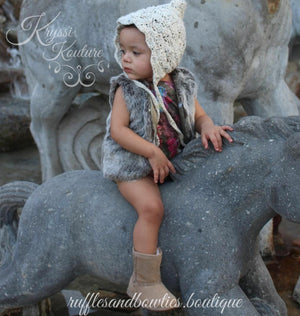 Pre-Order US ONLY - Baby Girl Boho Faux Fur Fall Vests -The Faux Fur Vest - Baby Vest - Kids Vest - shower gift - birthday present-Baby Clothing -modern faux fur -shrug - vest - Ruffles & Bowties Bowtique - 3