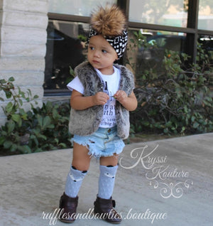 Pre-Order US ONLY - Baby Girl Boho Faux Fur Fall Vests -The Faux Fur Vest - Baby Vest - Kids Vest - shower gift - birthday present-Baby Clothing -modern faux fur -shrug - vest - Ruffles & Bowties Bowtique - 1