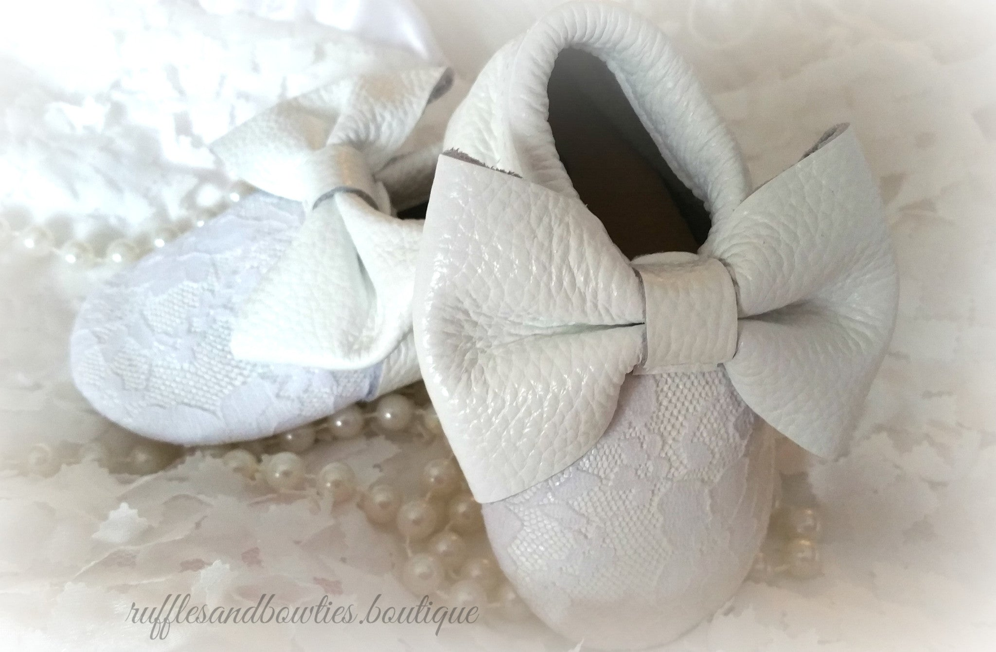 Baby Girl Lace leather Moccaisns White with White Lace Big Bow