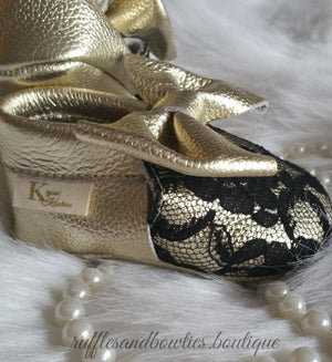 Baby Girl Lace leather Moccaisns - Gold with Black Lace Big Bow Leather Baby Moccasins - Baby Girl Moccasins - Bow Moccasins - Gold Bow Moccasins  - Soft Shoes - Lace Moccasins - Ruffles & Bowties Bowtique - 1