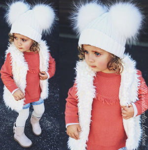 Cream Double Pom Fur Knitted Beanie Hat - Baby Beanie Fur Pom Hat -  -Fall Hat - Winter Hat - Baby Hat - Real Fur Pom Hat