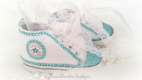Baby Girl Crystal Shoes White Converse Hightops with Aqua Crystal Accents and Lace Laces