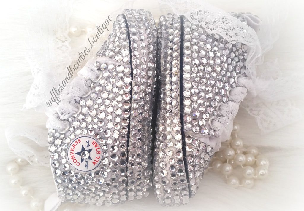 Baby Girl 100% Crystal Shoes with Accents Lace Laces - Christening Shoes