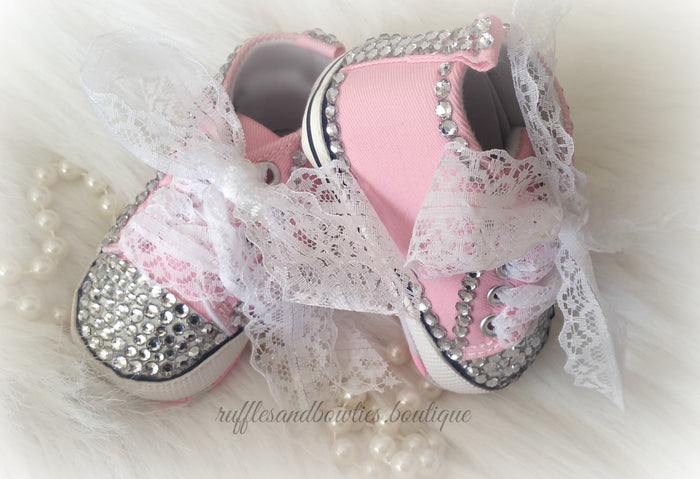 Baby Girl Crystal Converse Shoes - Pink High tops blinged out with Crystals and Lace for Ribbons