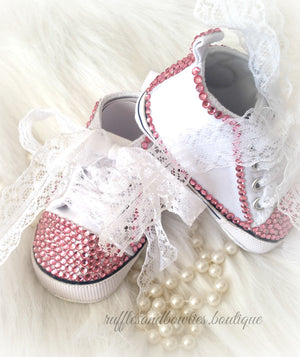 Baby Girl Crystal Shoes - White & Pink Crystal Baby Converse High Tops