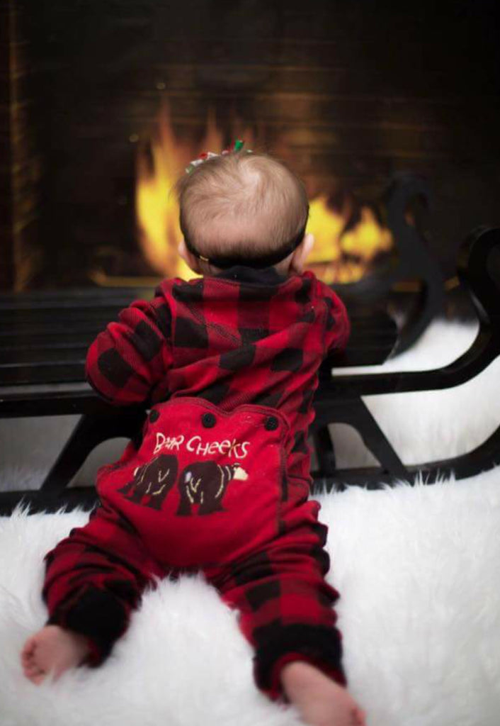 Lazy One Infant & Kids Buffalo Plaid BEAR CHEEKS Flapjack Matching Christmas Pj's