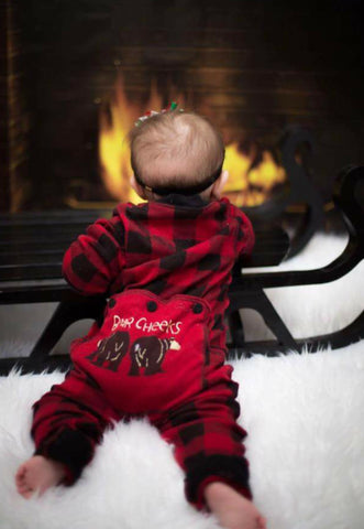 Lazyone Infant & Kids Buffalo Plaid BEAR CHEEKS Flapjack Matching Christmas Pj's