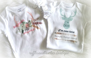 Oh Deer I'm New Here Shirt - Bohemian Baby - Newborn Shirt - Hospital Outfit - Coming Home Outfit - Native Shirt -  Boho Baby - Boho Onesie - Oh Deer - Ruffles & Bowties Bowtique - 4