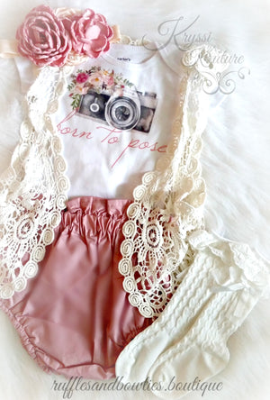 Born To Pose Vintage Camera Floral Baby Girl Shirt - Vintage Camera - Baby Modeling Shirt - Brand Rep Shirt - Dusty Rose Vintage Floral Baby Shirt - Fall Dusty Rose Baby Shirt - Ruffles & Bowties Bowtique - 8