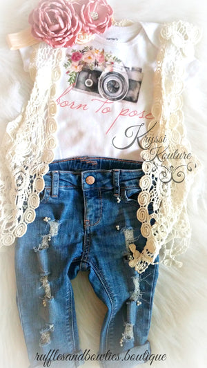 Born To Pose Vintage Camera Floral Baby Girl Shirt - Vintage Camera - Baby Modeling Shirt - Brand Rep Shirt - Dusty Rose Vintage Floral Baby Shirt - Fall Dusty Rose Baby Shirt - Ruffles & Bowties Bowtique - 9