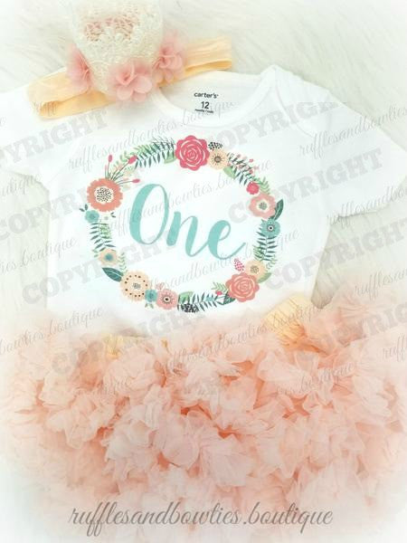 Girls Peach & Aqua Floral Wreath Boho First Birthday Shirt - Complete Outfits Available