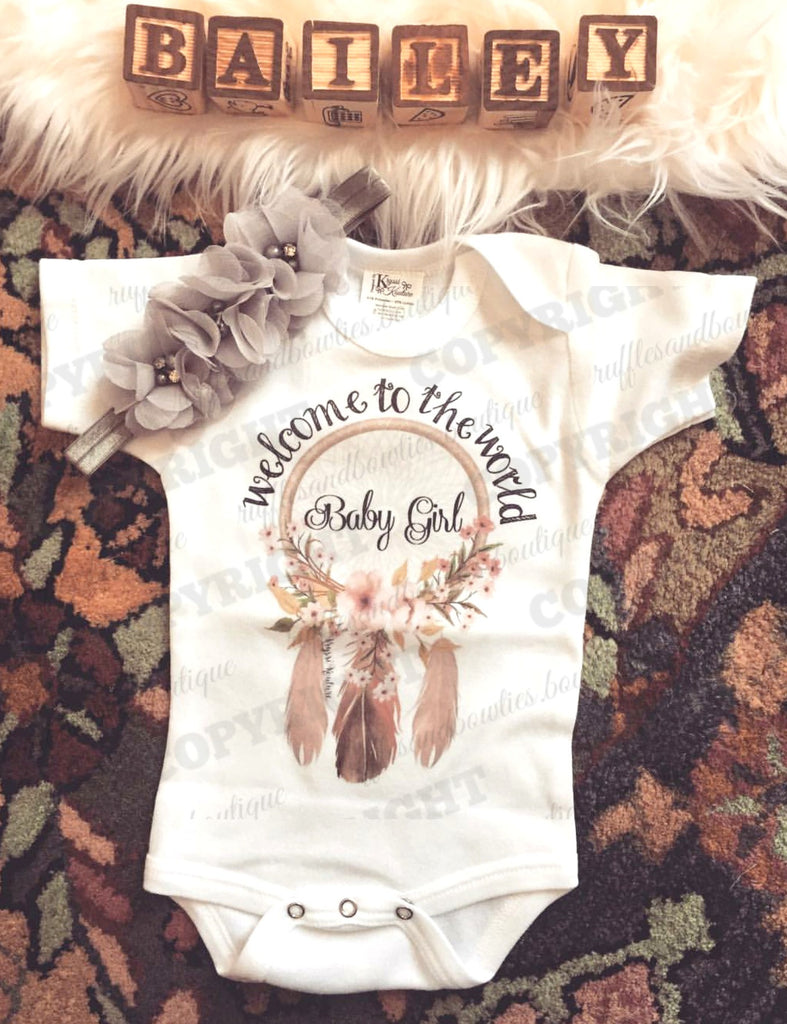 Buy Welcome t-Shirt for New Born Baby Girls - Bohemian Baby Outfits