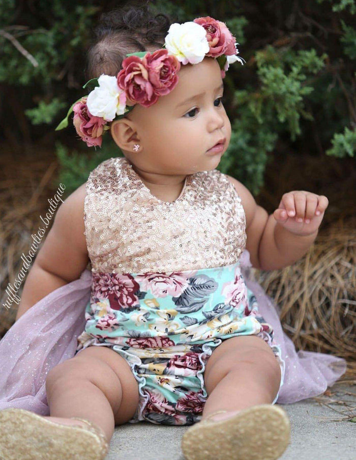 ***KRYSSI KOUTURE EXCLUSIVE*** Aqua, Dusty Mauve & Gold Sequin Floral Vintage Tutu Romper