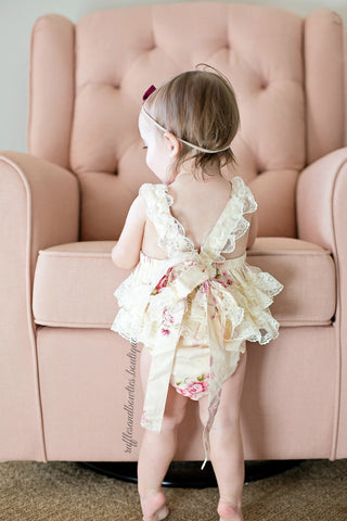 Kryssi Kouture Exclusive Girls Hazel Ruffled Lace and Vintage Floral Romper - MORE SETS ARRIVING LATE MARCH