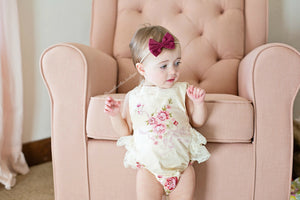 Kryssi Kouture Exclusive Girls Hazel Ruffled Lace and Vintage Floral Romper