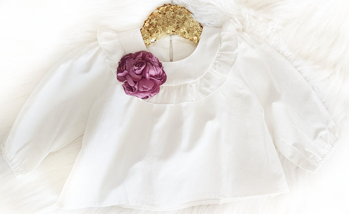 Girls White ruffled neckline blouse