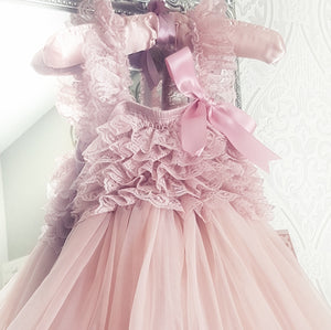 RESTOCKED - Kryssi Kouture Exclusive Girls Dusty Rose Spencer Tulle Spin Dress