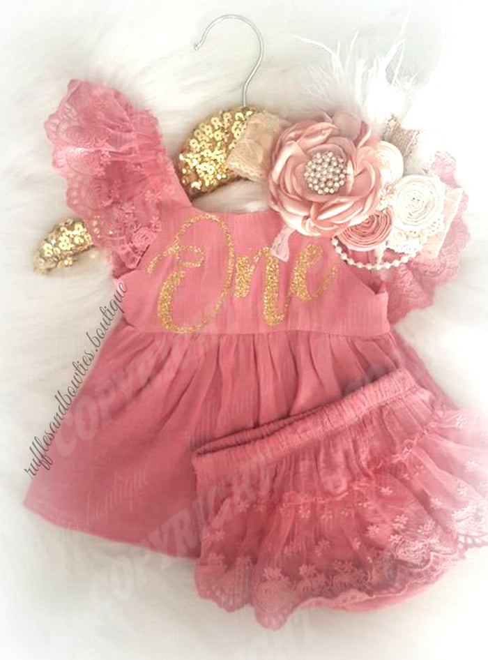 More C ***CUSTOMER FAVOURITE*** Baby Girls Isabella First Birthday ONE Lace Swing Birthday Dress in Dusty Rose & Gold