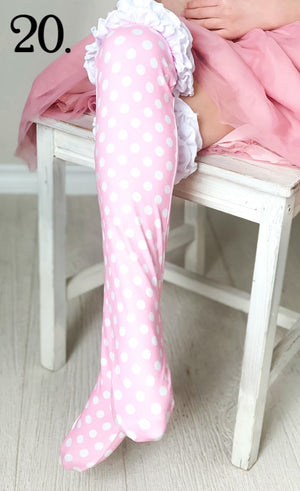 Pink Polka-Dot Ruffled Knee Highs