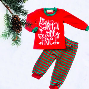 Dear Santa I Tried Kids Christmas Pajamas