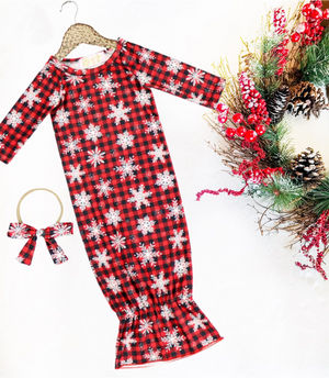 2 Pc Baby Holiday Buffalo Plaid Snowflake Sleep Gown with Headband