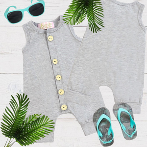 Grey Girls & Boys Solid Romper