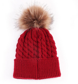 Kids Red Cable Brown Pom Faux Fur Pom Hat - 20