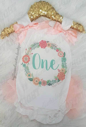 Baby Girl Peach & Aqua Floral Wreath Boho First Birthday Shirt