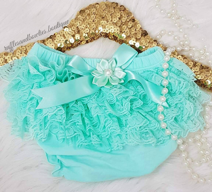 Aqua Lace Diaper Covers with Bow