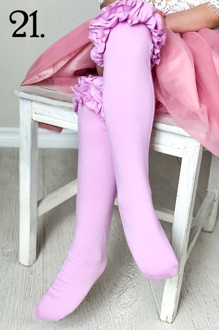 Purple Ruffled Knee Highs