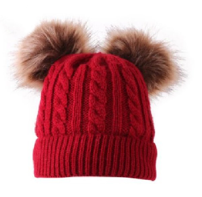 Kids Red Cable Double Brown Pom Faux Fur Pom Hat - 21