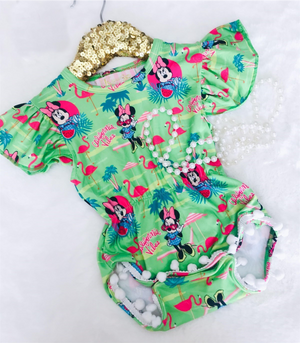 Baby Lime Mouse Pom Romper