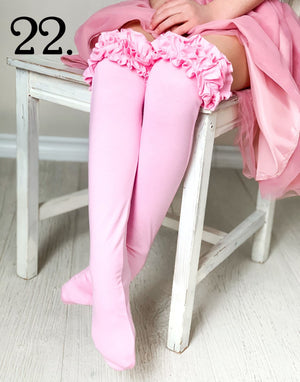 Bubble Gum Pink Ruffled Knee Highs