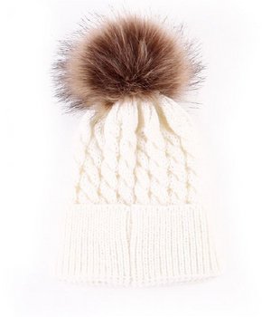 Kids Cream Cable Brown Pom Faux Fur Pom Hat - 22