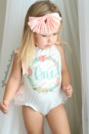 Baby Girl Peach & Aqua Floral Wreath Boho First Birthday Tutu Romper
