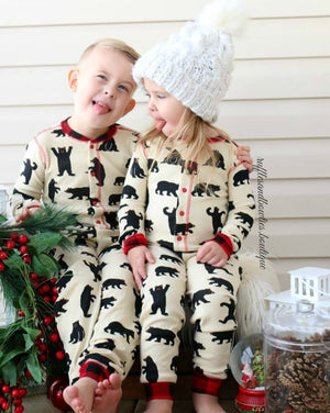 Black Bear and Buffalo Plaid Bear Bum Family Matching Onesies Longjohns Union Suits By Hatley - Family Matching Christmas Pj's - Christmas Pajamas - Long John PJS - Family Matching Pajamas -Flap Jacks