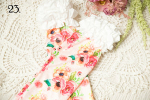 White and Pink Floral Ruffled Knee Highs