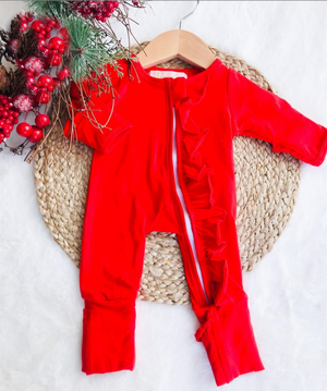 Baby Christmas Red Holiday Zipper Convertible Sleepers