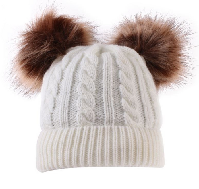 Kids Cream Cable Double Brown Pom Faux Fur Pom Hat - 23