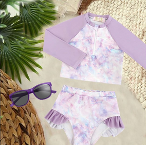 Girls Bathing Suits - Gili Mauve Tie-Dye