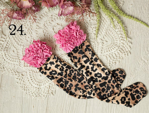 Pink and Leopard Ruffled Knee Highs