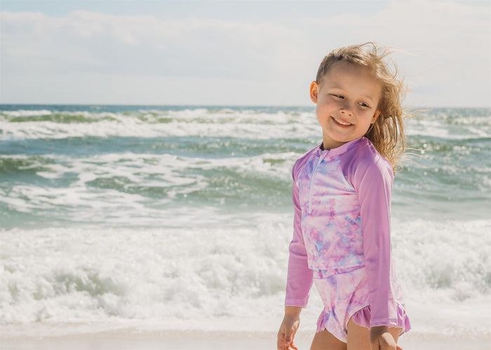 Girls Bathing Suits - Gili Mauve Tie-Dye - 2 Pc Long Sleeve