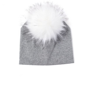 Kids Grey Knit White Pom Faux Fur Pom Hat - 24