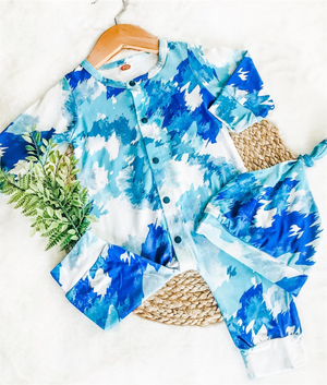 2 Pc Baby Shades of Blue Jumpsuit plus Hat Tie Dye Set