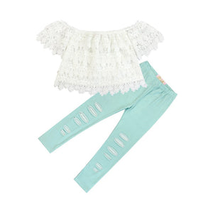 Kryssi Kouture Aqua Distressed Leggings & Lace Top