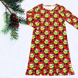 Girls Grinch Buffalo Plaid Nightgown