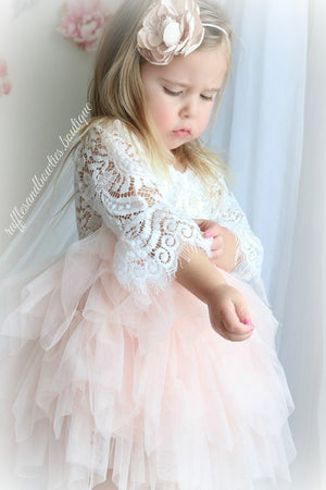 ef1e1cdb4ae Veronica Soft White Eyelash 3 4 Sleeve Lace with a Peach Short Tutu Skirt -