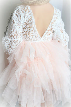 Veronica Soft White Eyelash 3/4 Sleeve Lace with a Peach Short Tutu Skirt - Princess Dress
